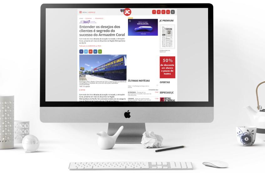 Sucesso do Armazém Coral vira notícia no JC Online.
